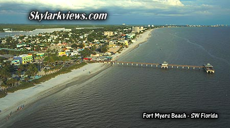 panoramic view above fort myers beach along the coast